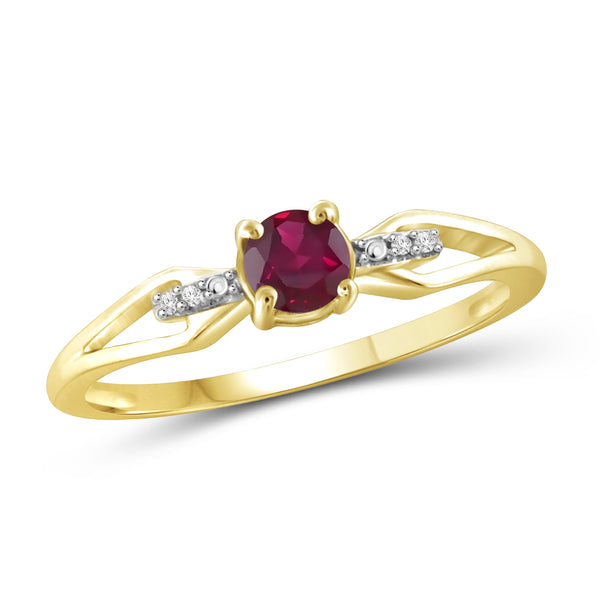 JewelonFire 3/4 Carat T.G.W. Ruby and White Diamond Accent Sterling Silver Ring - Assorted Colors
