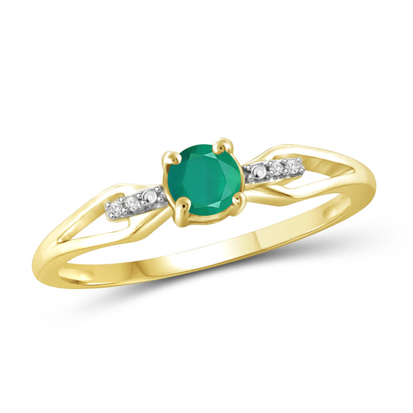 JewelonFire 1/2 Carat T.G.W. Emerald and White Diamond Accent Sterling Silver Ring - Assorted Colors