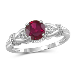 JewelersClub 1 1/5 Carat T.G.W. Ruby and White Diamond Accent Sterling Silver Ring- Assorted Colors