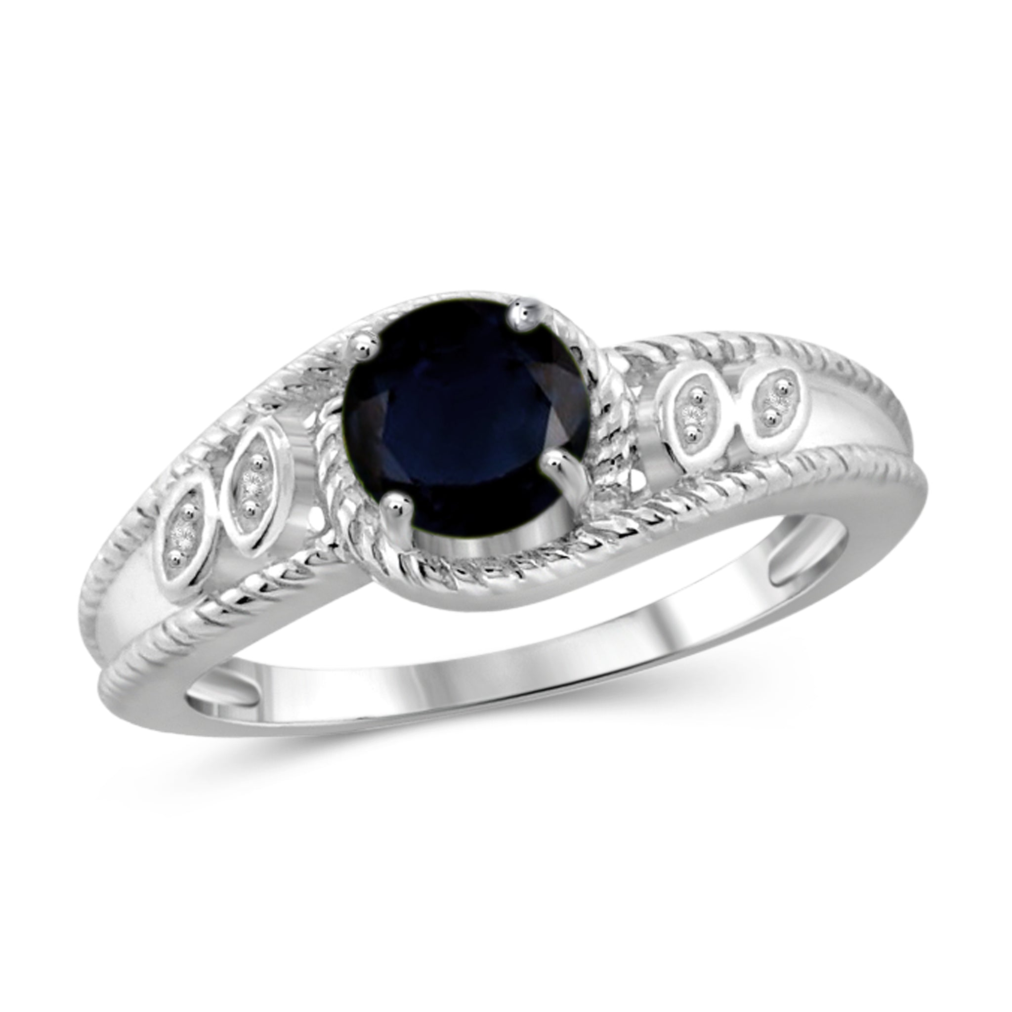 JewelonFire 1 1/5 Carat T.G.W. Sapphire and White Diamond Accent Sterling Silver Ring- Assorted Colors