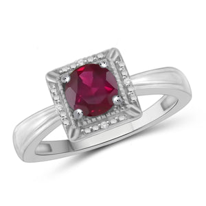 JewelonFire 1 1/5 Carat T.G.W. Ruby and White Diamond Accent Sterling Silver Ring - Assorted Colors