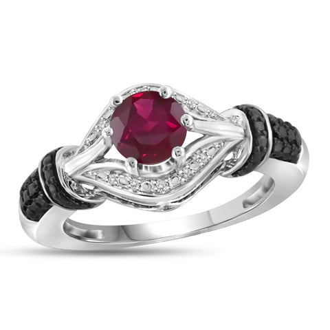 JewelonFire 1 1/5 Carat T.G.W. Ruby and White Diamond Accent Sterling Silver Ring- Assorted Colors