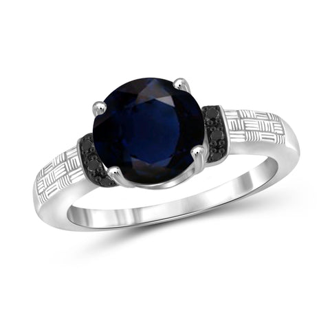 JewelonFire 2 1/5 Carat T.G.W. Sapphire and Black Diamond Accent Sterling Silver Ring- Assorted Colors