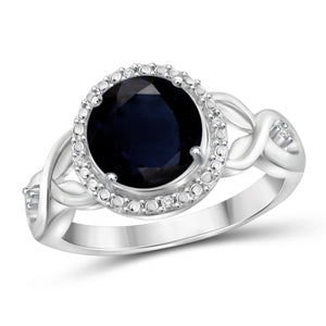JewelonFire 2 1/5 Carat T.G.W. Sapphire and White Diamond Accent Sterling Silver Ring- Assorted Colors