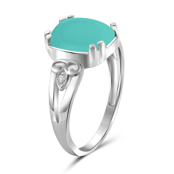 JewelonFire 2 3/4 Carat T.G.W. Chalcedony And White Diamond Accent Sterling Silver Fashion Ring