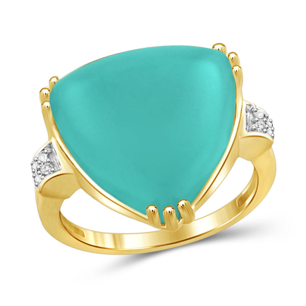 JewelonFire 13 3/4 Carat T.G.W. Chalcedony And White Diamond Accent Sterling Silver Fashion Ring