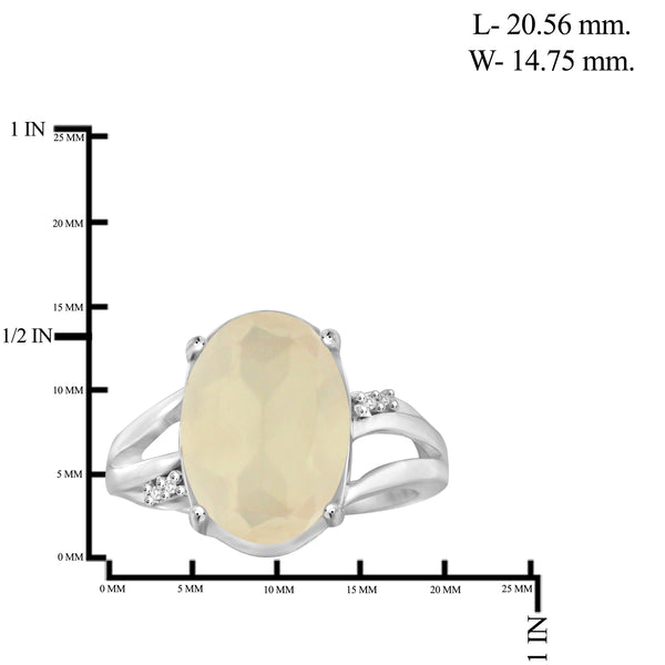 JewelonFire 5.50 Carat T.G.W. Moon and White Diamond Accent Sterling Silver Ring - Assorted Color