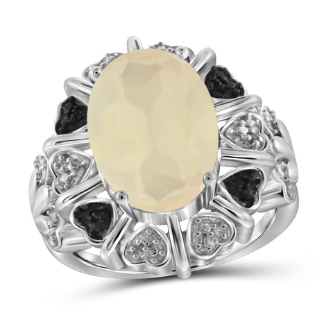 JewelersClub 5 1/2 Carat T.G.W. Moon and Black and White Diamond Accent Sterling Silver Ring