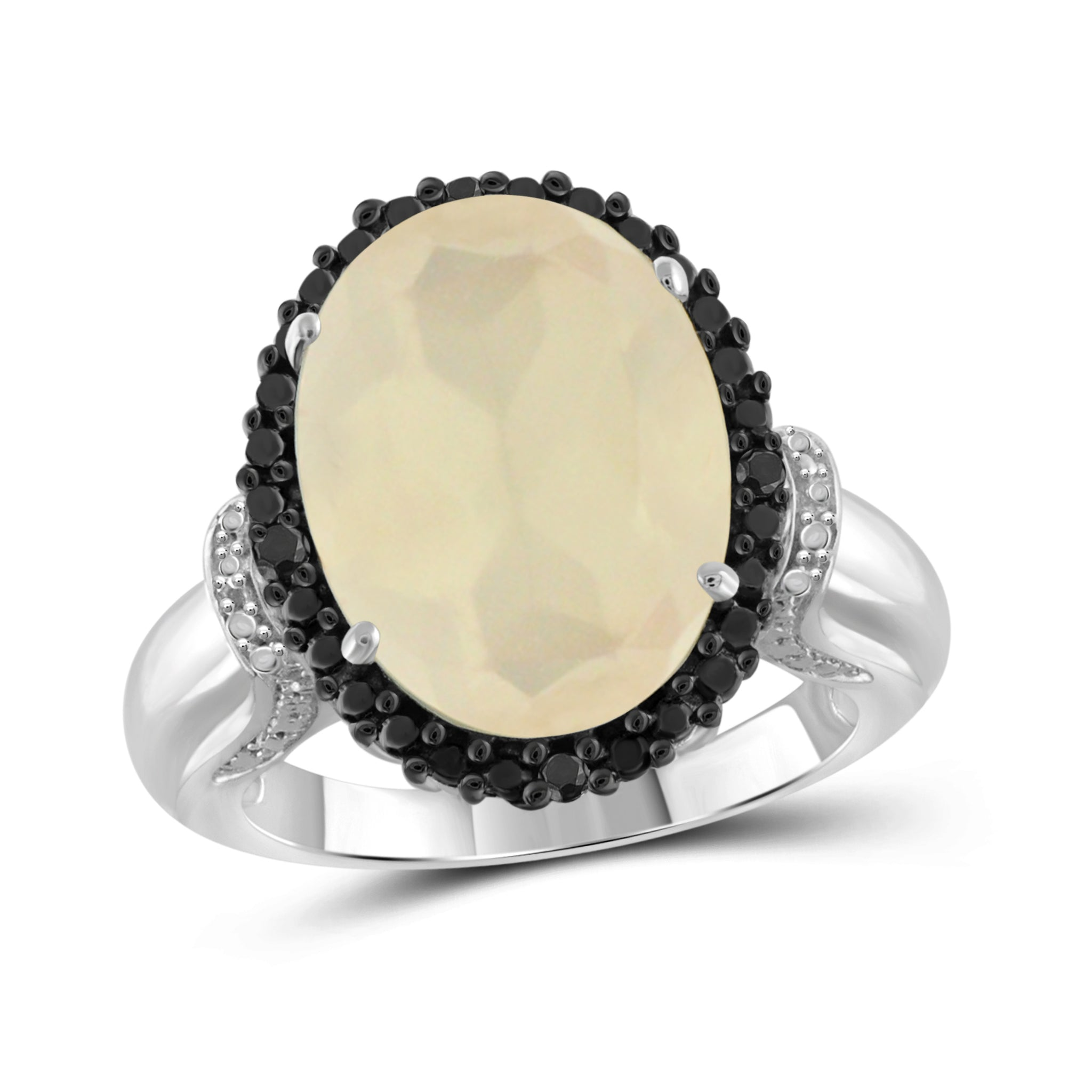 JewelersClub 8 1/4 Carat T.G.W. Moon and Black and White Diamond Accent Sterling Silver Ring