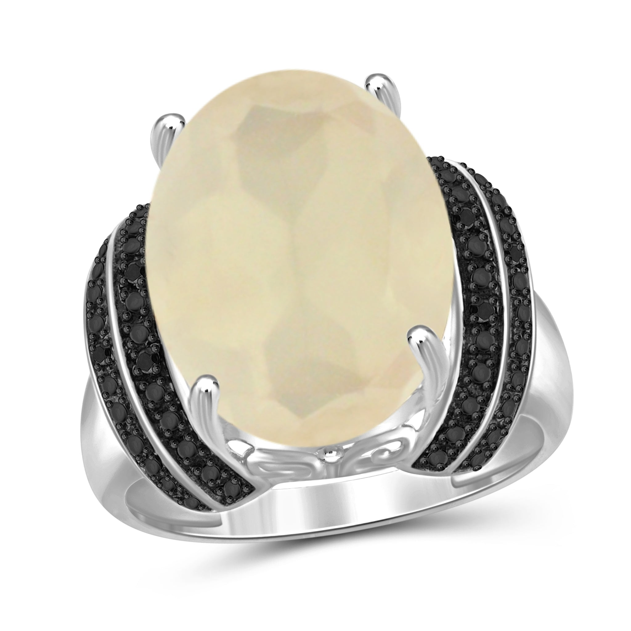 JewelersClub 8 1/4 Carat T.G.W. Moon and Black Diamond Accent Sterling Silver Ring