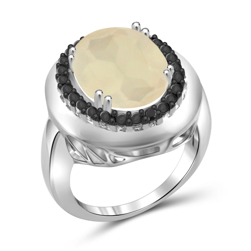 JewelersClub 8.20 Carat T.G.W. Moon And 1/20 Carat T.W. Black Diamond Sterling Silver Ring - Assorted Colors