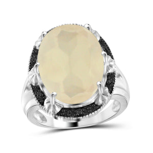 JewelonFire 11 1/5 Carat T.G.W. Moon and Black Diamond Accent Sterling Silver Ring