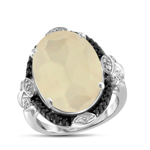 JewelonFire 11 1/5 Carat T.G.W. Moon and Black and White Diamond Accent Sterling Silver Ring
