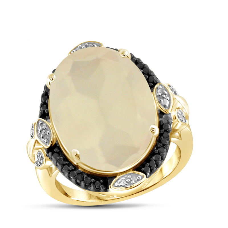 JewelersClub 11.15 Carat T.G.W. Moon And 1/20 Carat T.W. Black & White Diamond Sterling Silver Ring - Assorted Colors