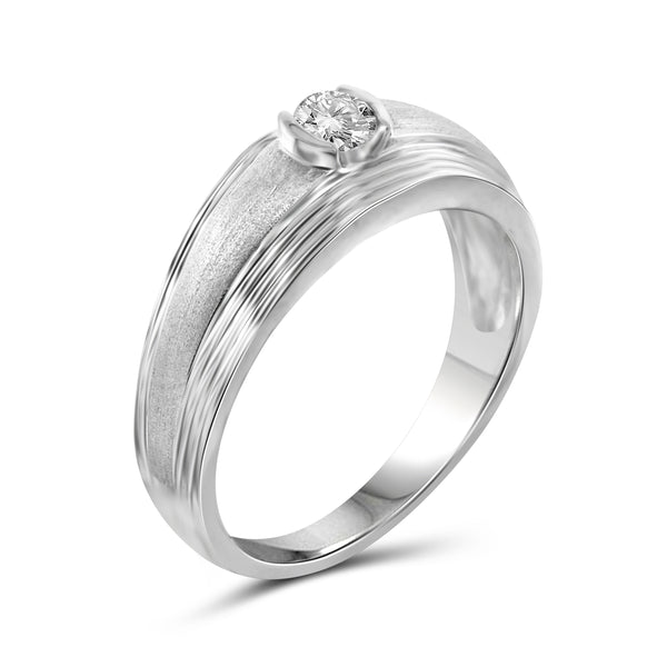 Jewelnova 3/4 Carat T.W. White Diamond 10k White Gold Men's Ring