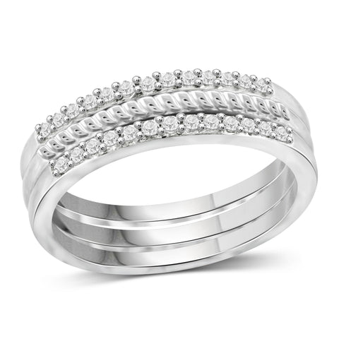 JewelersClub 1/5 Carat T.W. White Diamond Sterling Silver Stackable Band - Assorted Colors