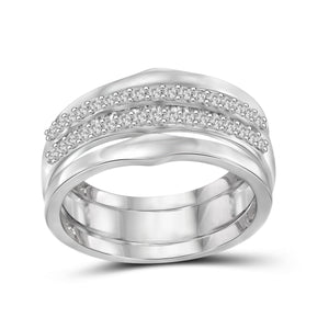 JewelonFire 1/2 Carat T.W. White Diamond Sterling Silver Stackable Ring - Assorted Colors