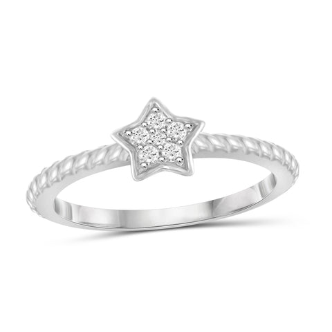 JewelonFire 1/10 Carat T.W. White Diamond Sterling Silver Star Ring - Assorted Colors