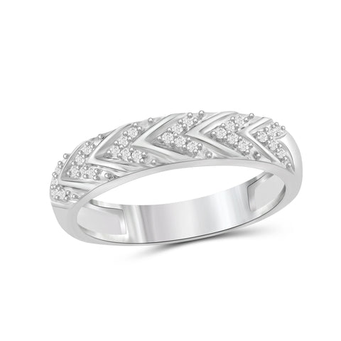 JewelersClub 1/10 Carat T.W. White Diamond Sterling Silver V Texture Ring - Assorted Colors