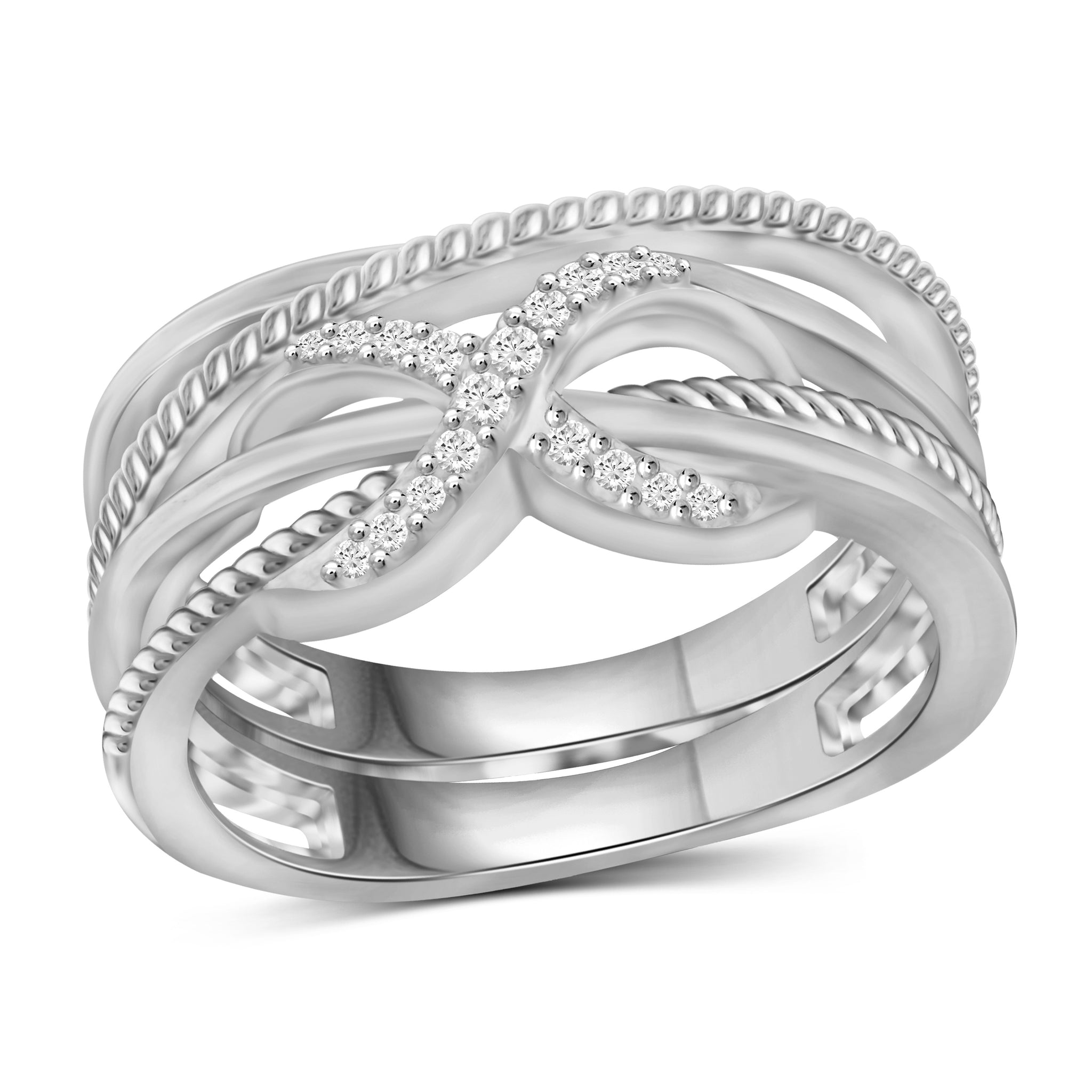 JewelersClub 1/10 Carat T.W. White Diamond Sterling Silver Infinity Stackable Ring - Assorted Colors