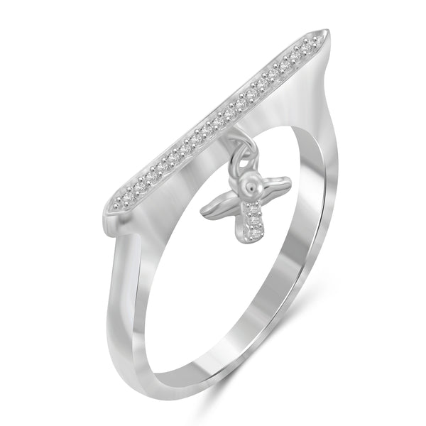 JewelonFire 1/10 Carat T.W. White Diamond Sterling Silver Cross Stackable Ring (Size 7 Only) - Assorted Colors