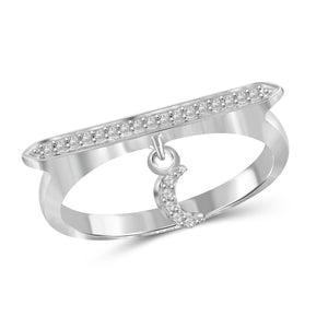 JewelonFire 1/10 Carat T.W. White Diamond Sterling Silver Moon Stackable Ring (Size 7 Only) - Assorted Colors