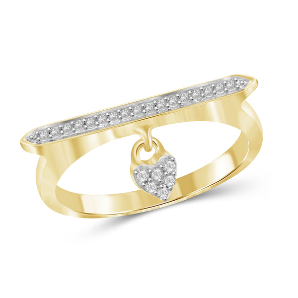 JewelonFire 1/10 Carat T.W. White Diamond Sterling Silver Heart Stackable Ring (Size 7 Only) - Assorted Colors