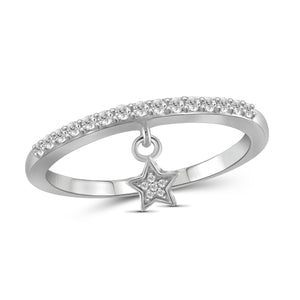 JewelersClub 1/5 Carat T.W. White Diamond Sterling Silver Star Stackable Ring - Assorted Colors