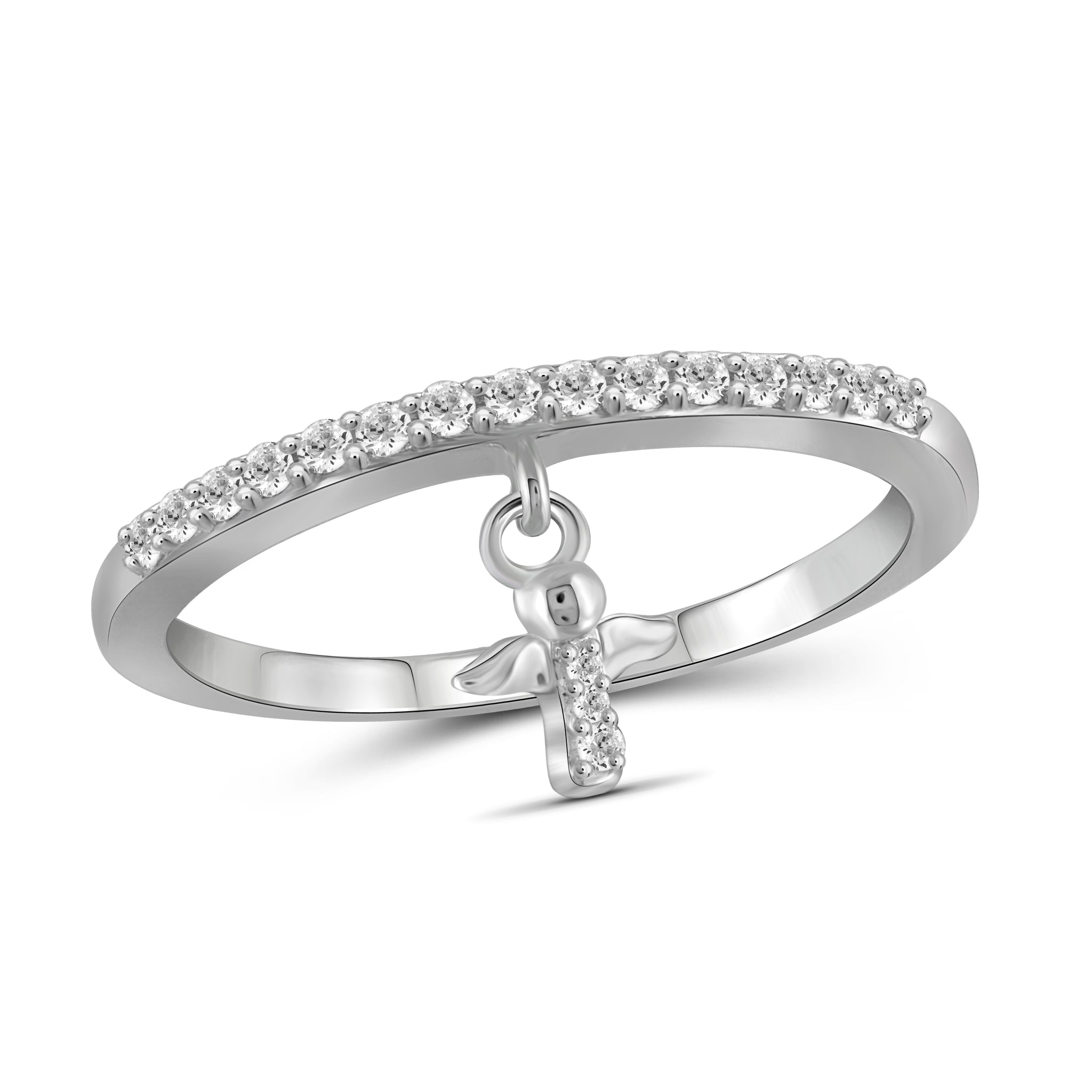 JewelonFire 1/5 Carat T.W. White Diamond Sterling Silver Cross Stackable Ring - Assorted Colors