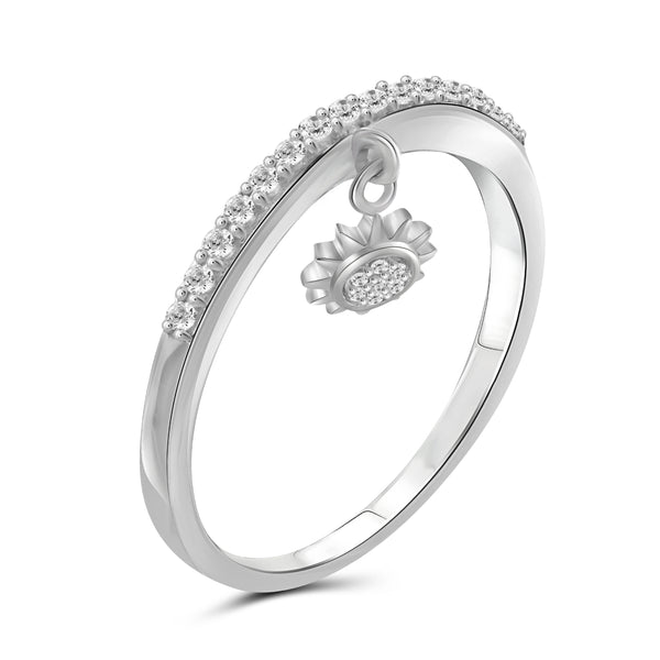 JewelonFire 1/5 Carat T.W. White Diamond Sterling Silver Sun Stackable Ring - Assorted Colors