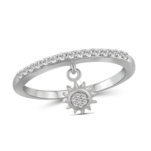 JewelersClub 1/5 Carat T.W. White Diamond Sterling Silver Sun Stackable Ring - Assorted Colors