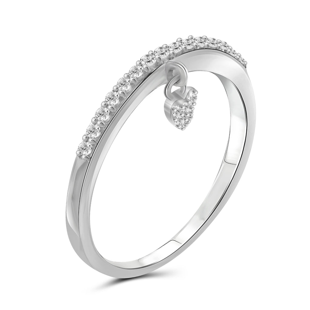 JewelersClub 1/5 Carat T.W. White Diamond Sterling Silver Heart Stackable Ring - Assorted Colors