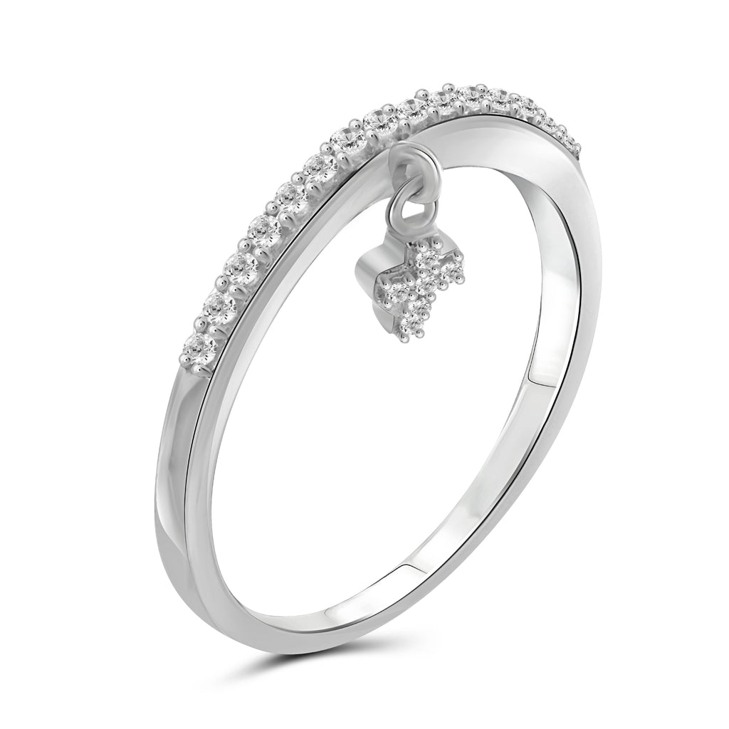 JewelersClub 1/5 Carat T.W. White Diamond Sterling Silver Cross Stackable Ring - Assorted Colors