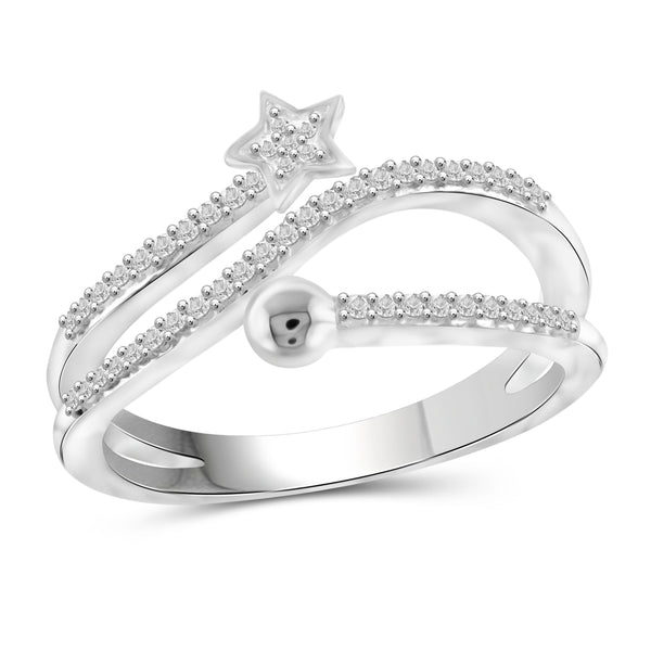 JewelonFire 1/4 Carat T.W. White Diamond Sterling Silver Star Stackable Ring - Assorted Colors