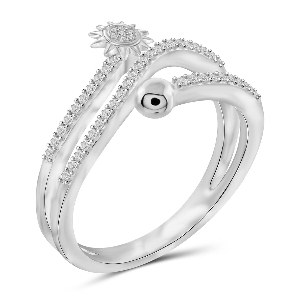 JewelersClub 1/4 Carat T.W. White Diamond Sterling Silver Sun Stackable Ring - Assorted Colors
