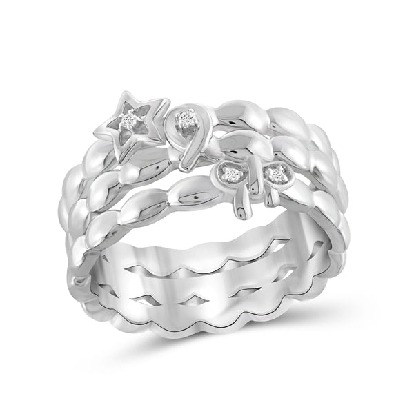 JewelonFire White Diamond Accent Star, Ribbon & Bow Sterling Silver Ring - Assorted Colors