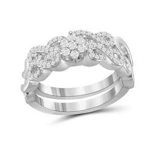 JewelonFire 1/3 Carat T.W. White Diamond Sterling Silver Stackable Ring - Assorted Colors