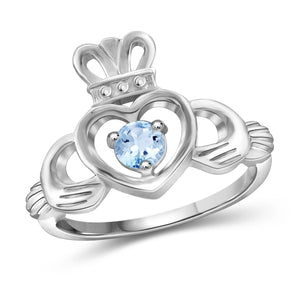 JewelonFire 1/3 Carat T.G.W. Sky Blue Topaz Sterling Silver Ring - Assorted Colors