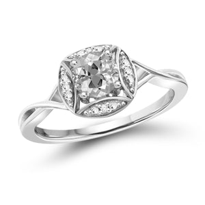 JewelonFire 1/2 Carat T.G.W. White Topaz And White Diamond Accent Sterling Silver Ring - Assorted Colors