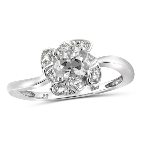 JewelonFire 1.00 Carat T.G.W. White Topaz And White Diamond Accent Sterling Silver Ring - Assorted Colors