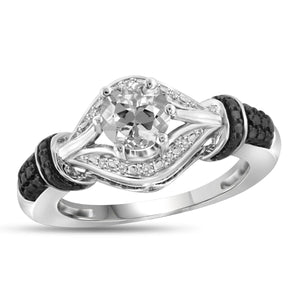 JewelonFire 1.00 Carat T.G.W. White Topaz And White Diamond Accent Black Rhodium Plating Sterling Silver Ring - Assorted Colors
