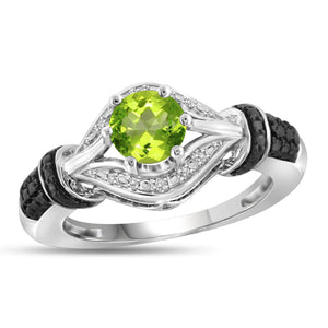 JewelonFire 3/4 Carat T.G.W. Peridot And White Diamond Accent Black Rhodium Plating Sterling Silver Ring - Assorted Colors