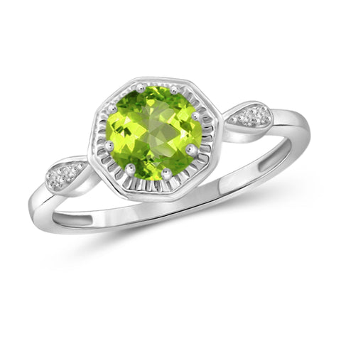 JewelonFire 3/4 Carat T.G.W. Peridot And White Diamond Accent Sterling Silver Ring - Assorted Colors