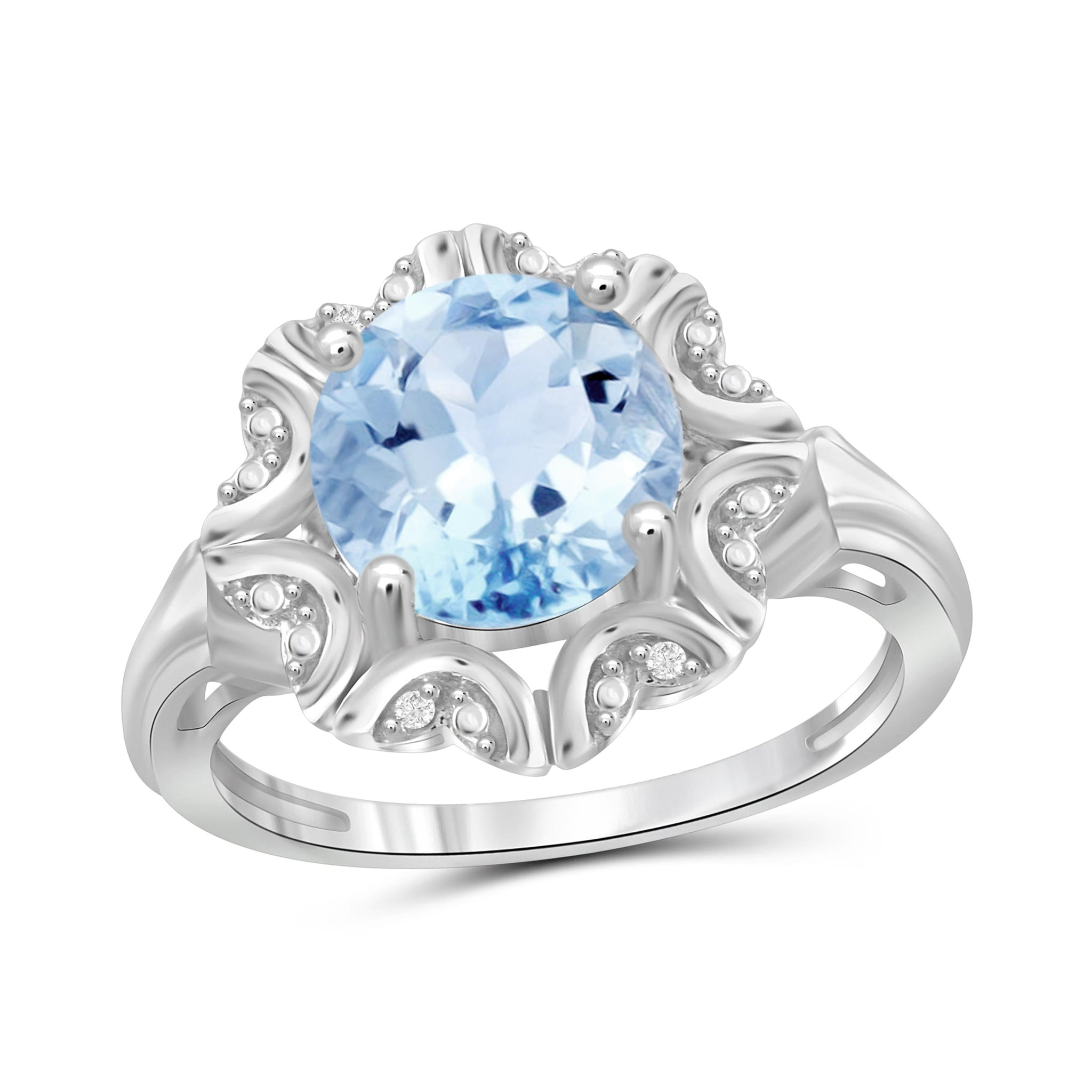JewelonFire 3 1/5 Carat T.G.W. Sky Blue Topaz And White Diamond Accent Sterling Silver Ring - Assorted Colors
