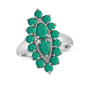 JewelonFire 2.60 Carat T.G.W. Emerald Sterling Silver Ring - Assorted Colors