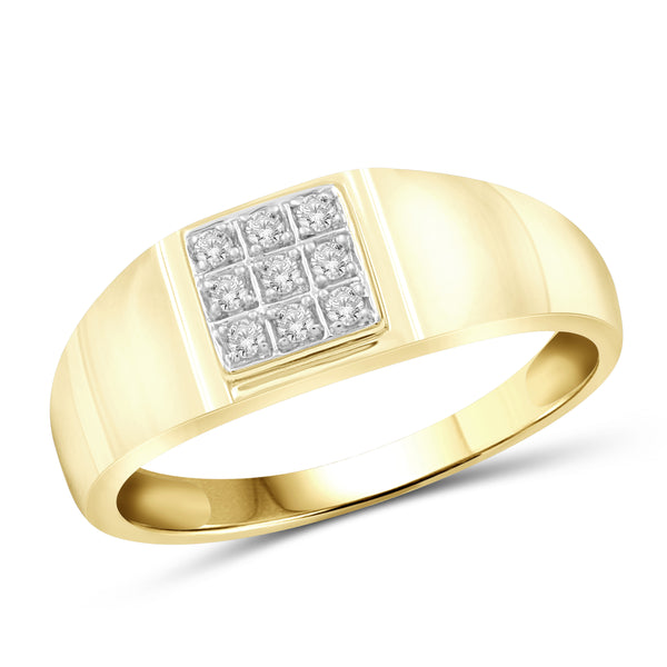Jewelnova 1/10 Carat T.W. White Diamond 10k Gold Middle Square Men's Ring - Assorted Colors