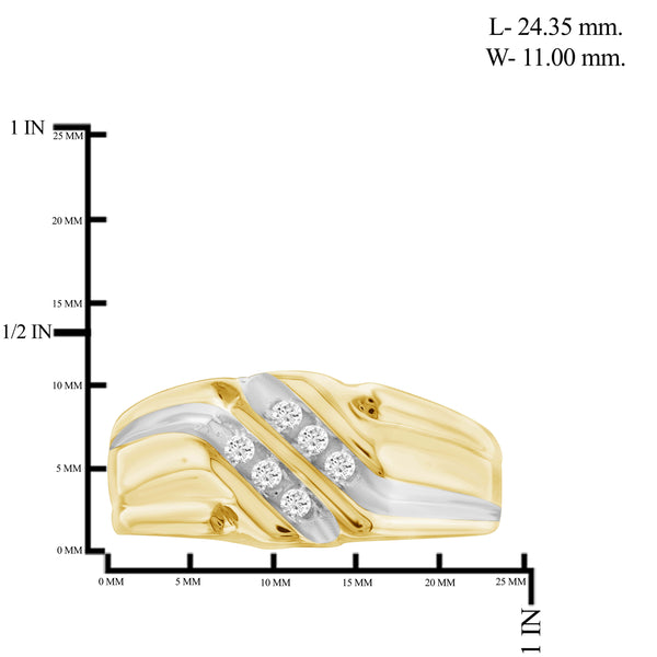 Jewelnova 1/7 Carat White Diamond 10k Gold Men's Ring - Assorted Colors