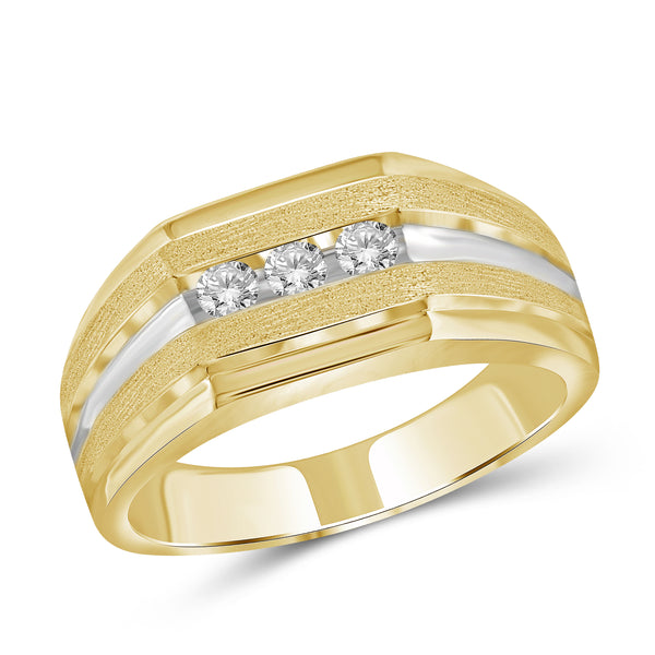 Jewelnova 1/4 Carat T.W. White Diamond 10k Gold Three Stone Men's Ring - Assorted Colors