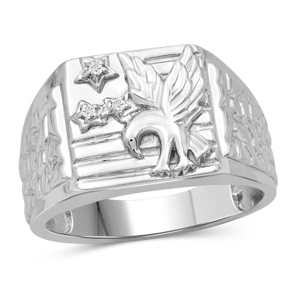 Jewelnova Accent White Diamond 10k White Gold Men's Ring