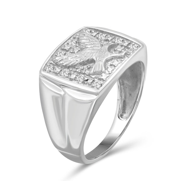 Jewelnova 1/10 Carat T.W. White Diamond 10k White Gold Men's Ring